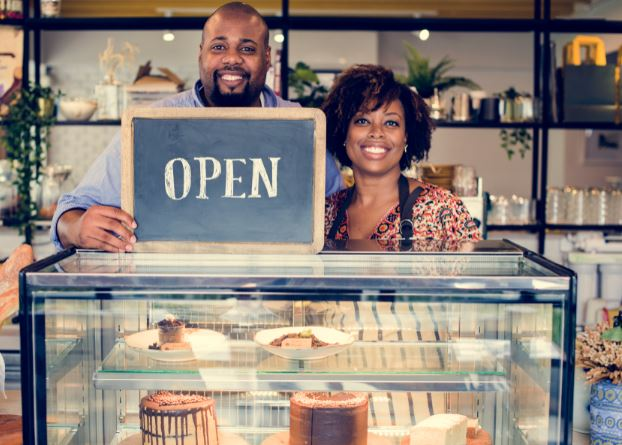 Business Couple Open Sign