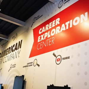Junior Achievement Career Exploration Center sign and wall