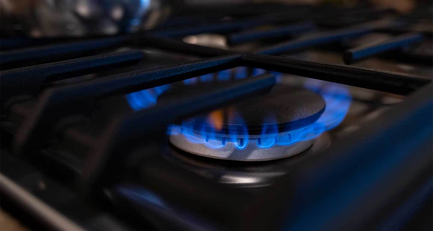 Close up of gas stove burner