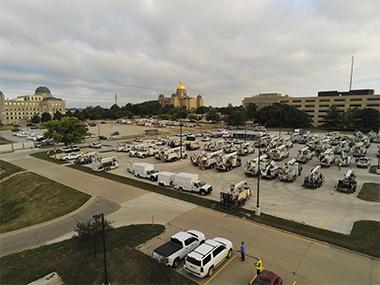 Nationwide crews meet in Des Moines following derecho