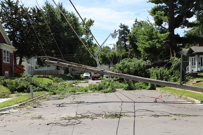 Downed pole repair in Quad Cities