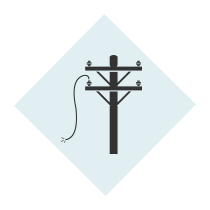 Dimond with a power line down icon