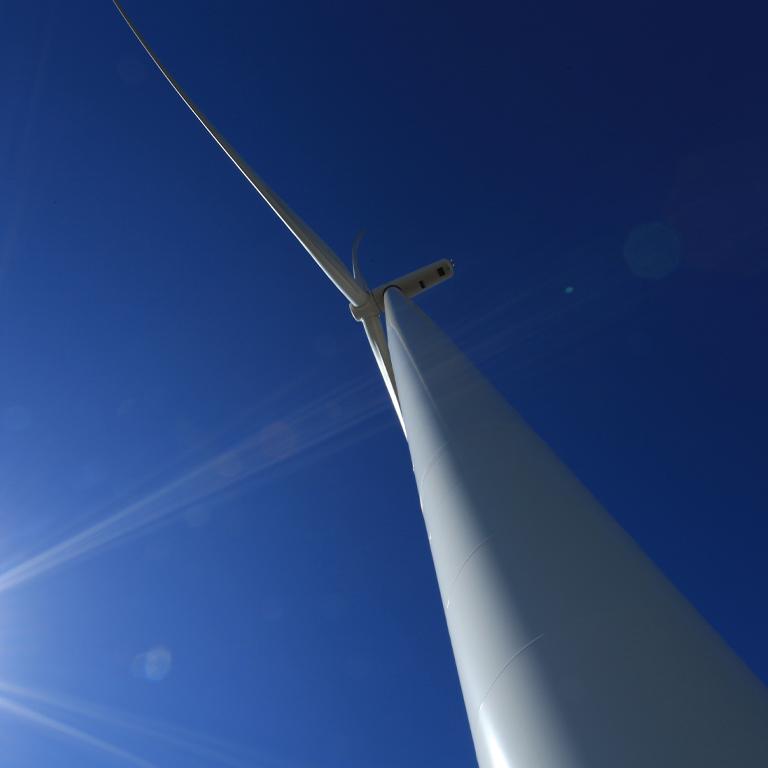 Upward shot of turbine