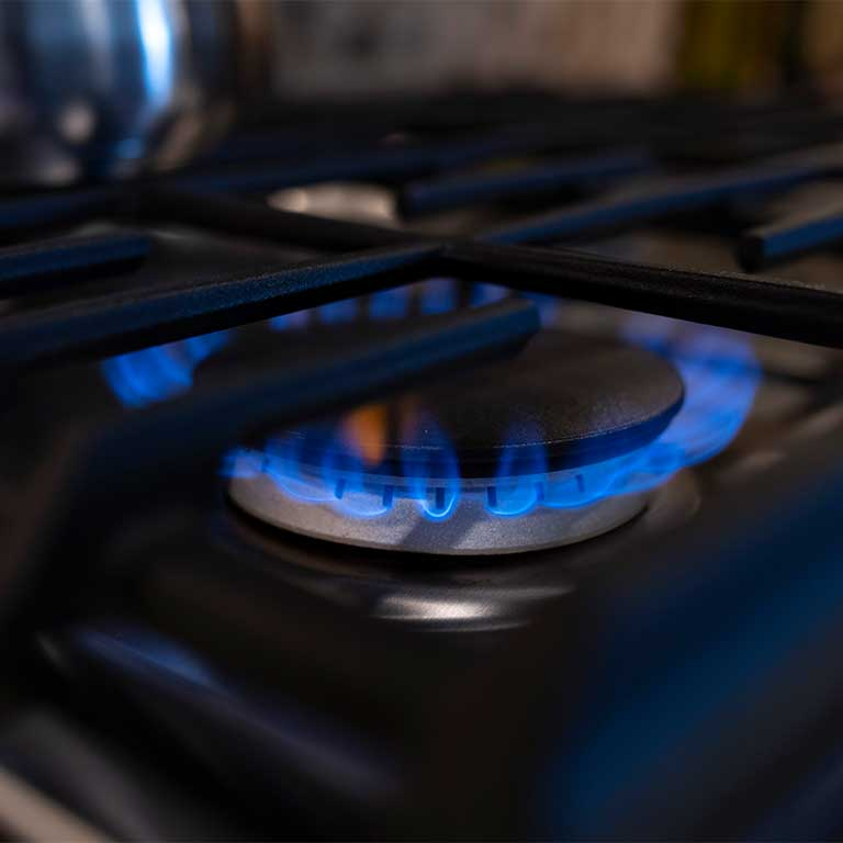 Natural gas stove top