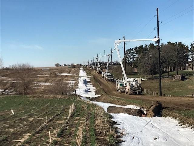 Winter storm repair work