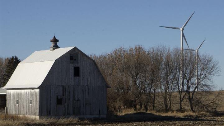 Barn on Farm with Windmills