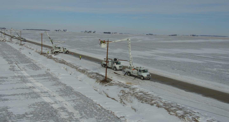 Lineman bucket trucks, lineman pole repair work winter