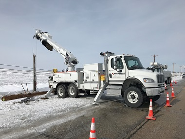 Pole repair after winter storm